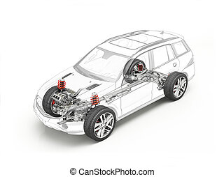 Suv technical drawing showing undercarriage. - Suv technical...