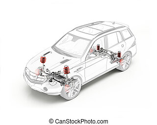 Suv technical drawing showing suspension system.