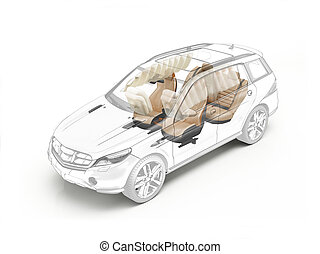 suv, teknisk udtrækning, viser, sæder, og, airbags.