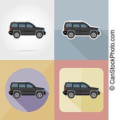 suv transport flat icons vector illustration
