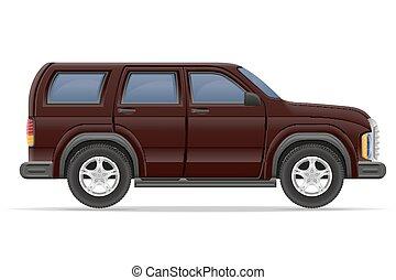 suv, vettore, illustrazione, automobile