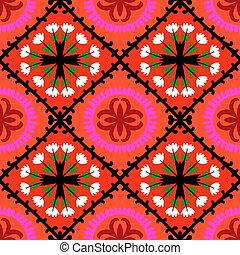 Suzani pattern with Uzbek and Kazakh motifs - Suzani, vector...