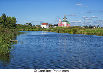 Landscape with the river Kamenka and the Church of St. Elijah