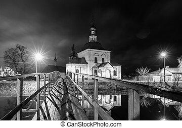 suzdal, russia., puente de madera, por, el, río kamenka