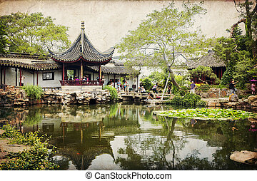 Suzhou, China - Chinese classical garden with pavilions and...