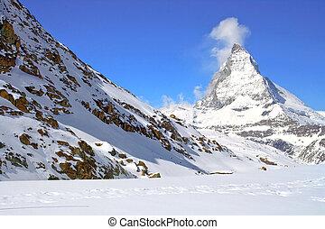 svájc, matterhorn, csúcs, havasi legelő