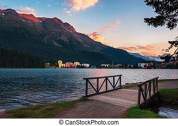 svájc, szt., tó, alpok, moritz, svájci