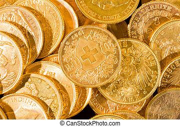 svájci, húsz, érmek, francs