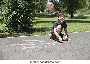 sväller, teckning, asfalt, barn