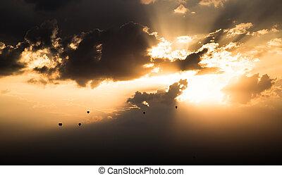 Sväller, varm, flygning, solnedgång, luft