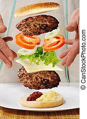 sväv, nollgravitation, burger, in, räcker