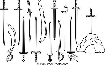 sværde, tynd linje, iconerne, sæt, (saber, machete, katana, excalibur, ind, den, stone)