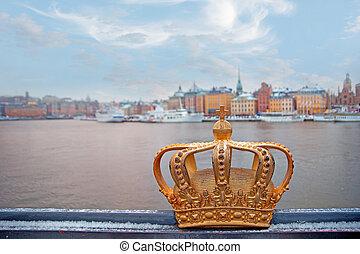 svéd, királyság, fejtető, arany-