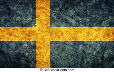 svédország, grunge, flag., cikk, alapján, az enyém, szüret, retro, zászlók, gyűjtés