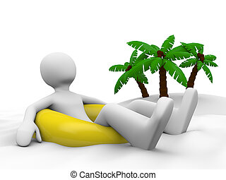svømme kling, ferie, liggende, mand
