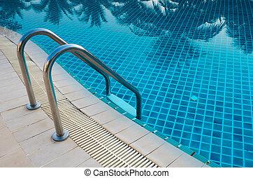 svømmebassinet, i, luksus, hotel.