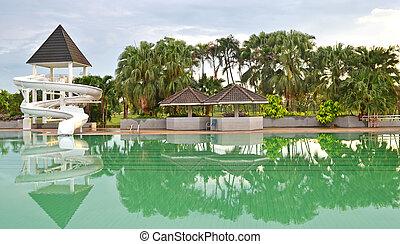 svømmebassinet, i, luksus, hotel