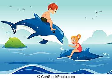 svømning, liden, børn, delfiner, havet