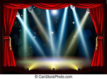světlomet, divadlo, období