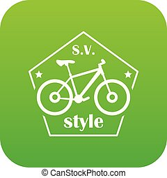 SV bike style icon green vector isolated on white background