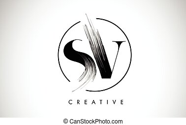 SV Brush Stroke Letter Logo Design. Black Paint Logo Leters...