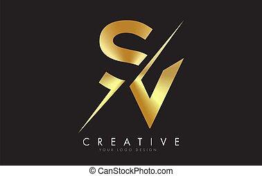 SV S V Golden Letter Logo Design with a Creative Cut. Creative logo design with Black Background.