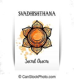 svadhishthana., símbolo, vector, segundo, sexual, chakra, esotérico, chakra., centro, ilustración, energy.