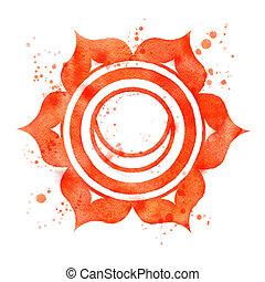 Svadhisthana chakra symbol. - Watercolor illustration of...