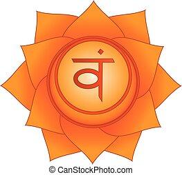 Svadhisthana. Sexual, second, sacral chakra symbol