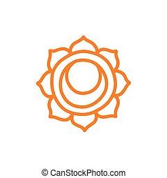 svadhisthana, vettore, colorare, illustrazione, chakra, icona, scarabocchiare