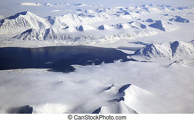 Svalbard Arctic Landscape Aerial View, Norway