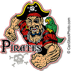 svalnatý, pirát, s, papoušek