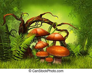 svampe, fantasien, skov