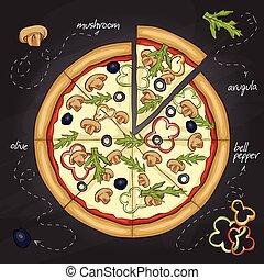 svampen, färg, pizza, bild