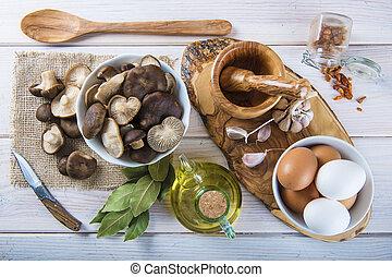 svampen, kung, kök, trumpet, bord