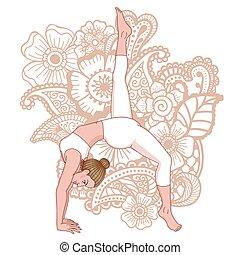 svanasa, pada, eka, legged, mujeres, adho, mukha, uno, pose., hacia abajo, yoga, silhouette., entretela, perro