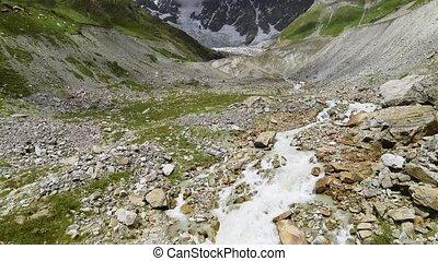 svaneti, gletscher, aus, fliegen- schnee, caucasus, shkhara,...