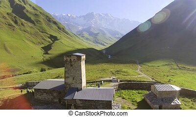 Svaneti Old village in Georgia. Medieval tower built for...