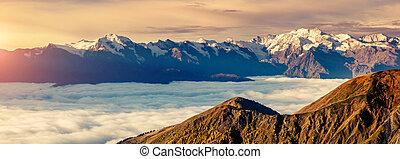 svaneti, ridge., europe., bydliště, silný, georgie, kavkaz, ...