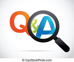 svar, glas, spørgsmål, forstørrer