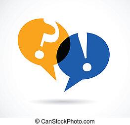 svar, tale, bobler, spørgsmål markerer