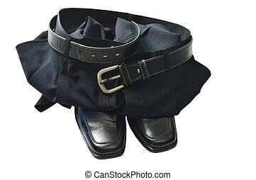 svart, affär, flåsande, och, lödder, sko, vita, bakgrund