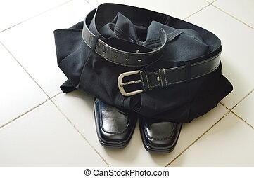 svart, affär, flåsande, och, lödder, sko, vita, tegelpanna golvbeläggning