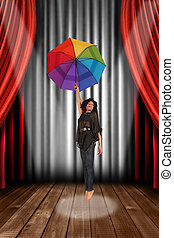 svart, afrikansk amerikansk kvinna, på, teater, arrangera