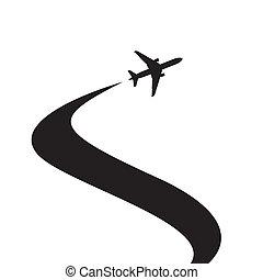 svart, airplane, silhuett