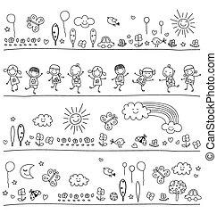 svart, barn, mönster, vit