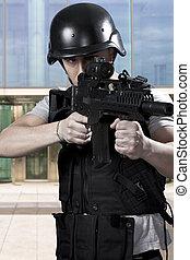 svart, beväpnat, poliser