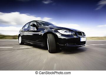 svart, bil, i rörelse