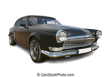 svart, bil, lyxvara, gammal