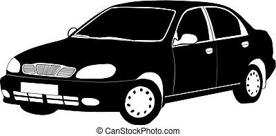 svart, bil., vit